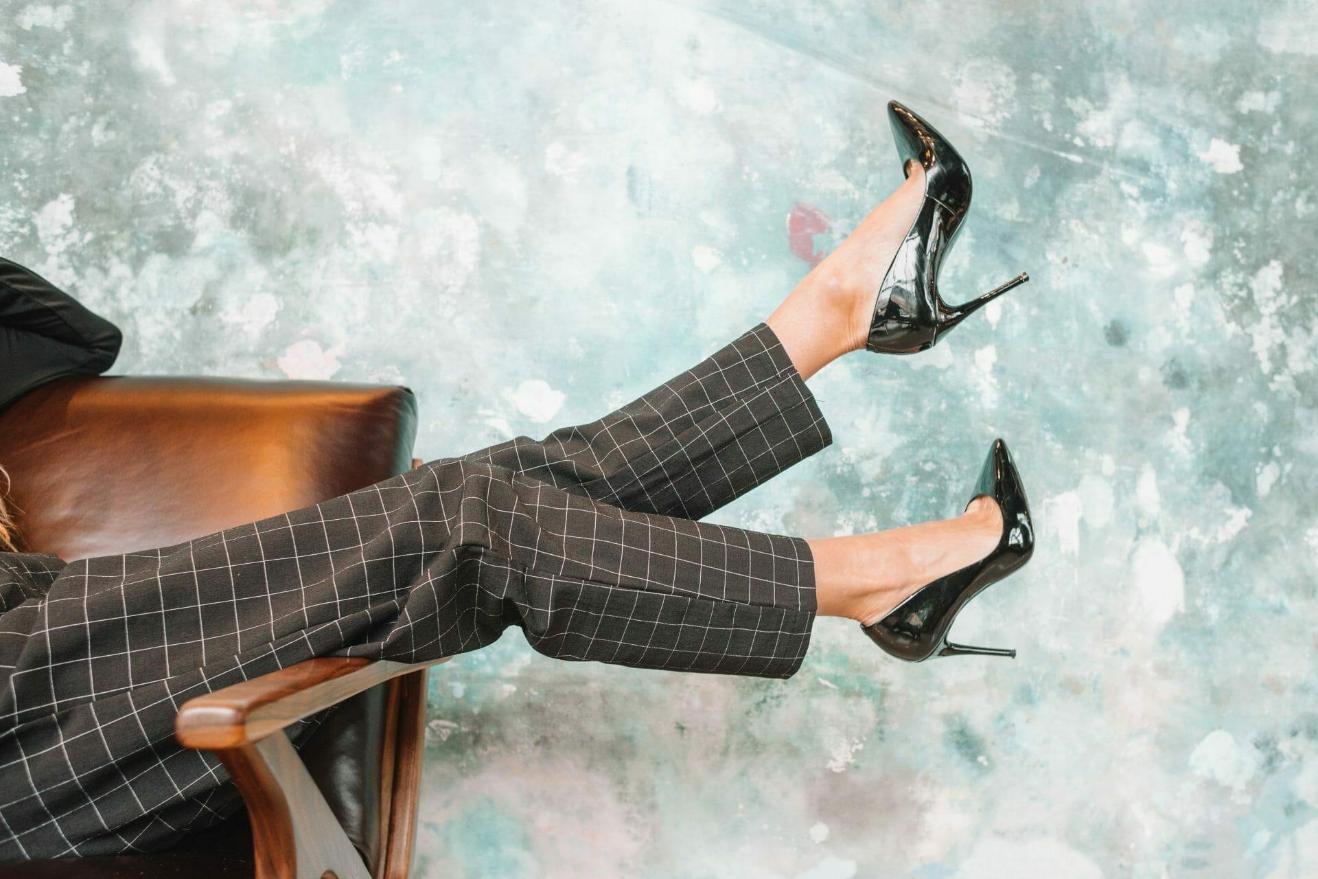 high heels on chair